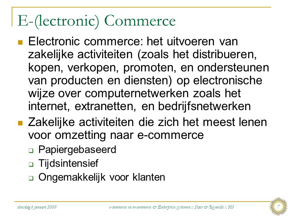 E-(lectronic) Commerce