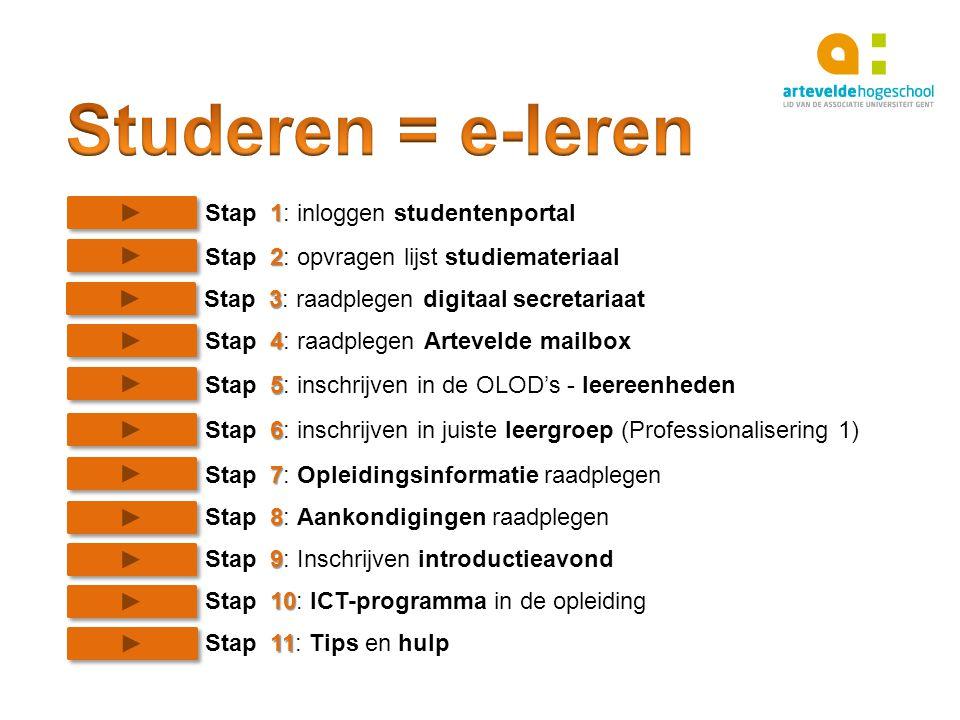 Studeren = e-leren Stap 1: inloggen studentenportal