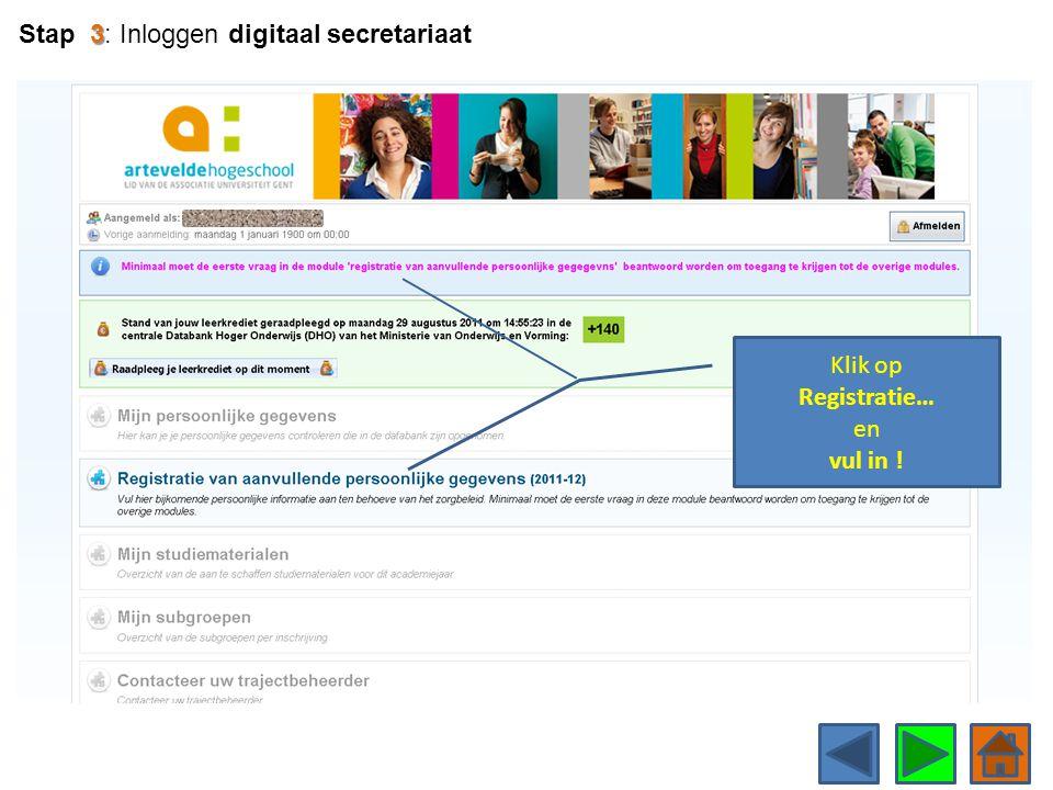 Stap 3: Inloggen digitaal secretariaat