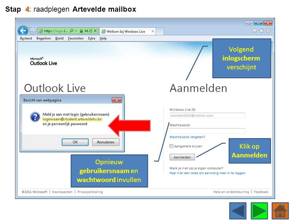 Stap 4: raadplegen Artevelde mailbox