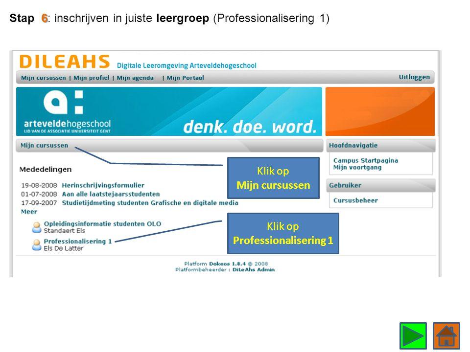 Klik op Professionalisering 1