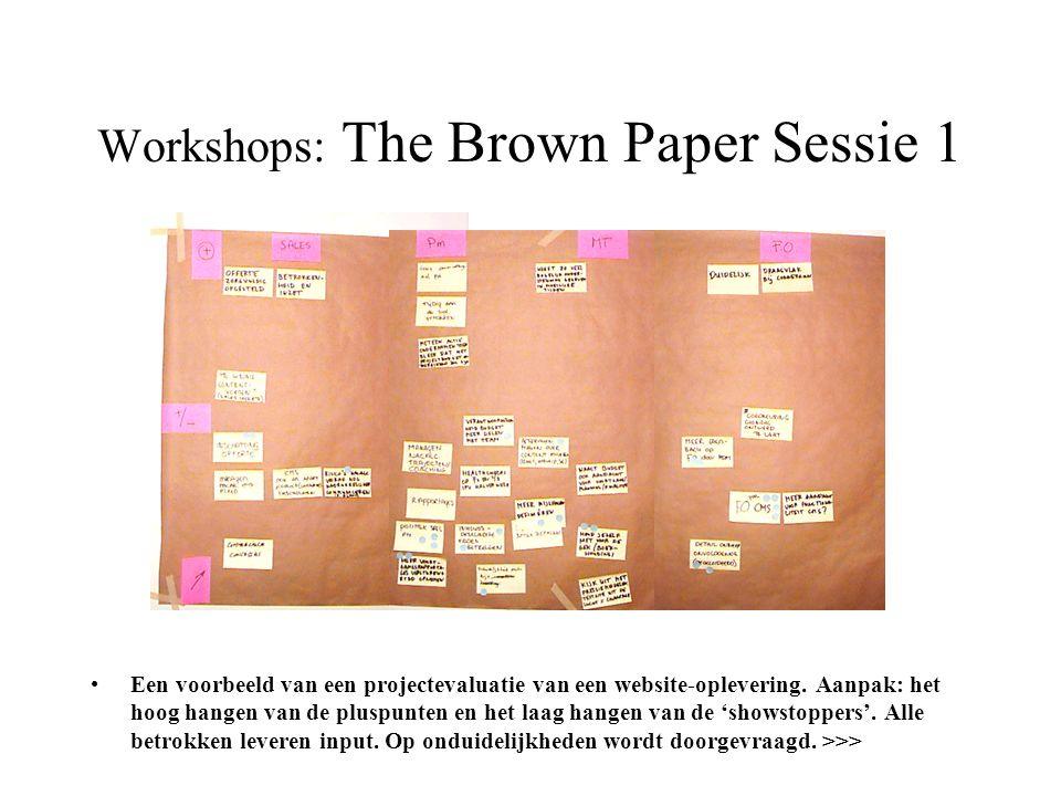 Workshops: The Brown Paper Sessie 1