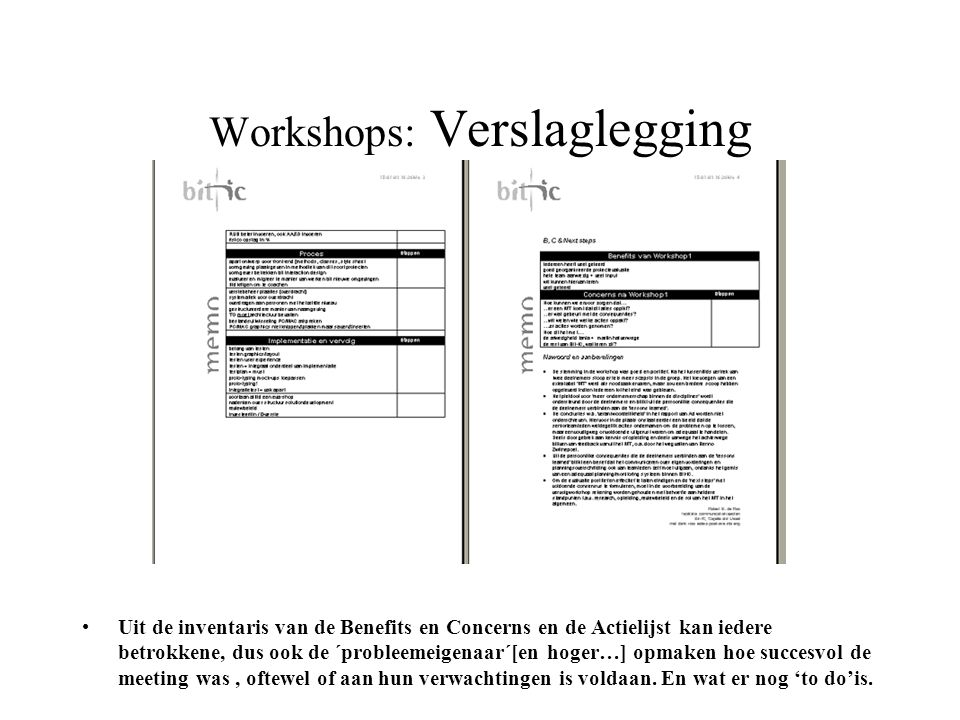 Workshops: Verslaglegging