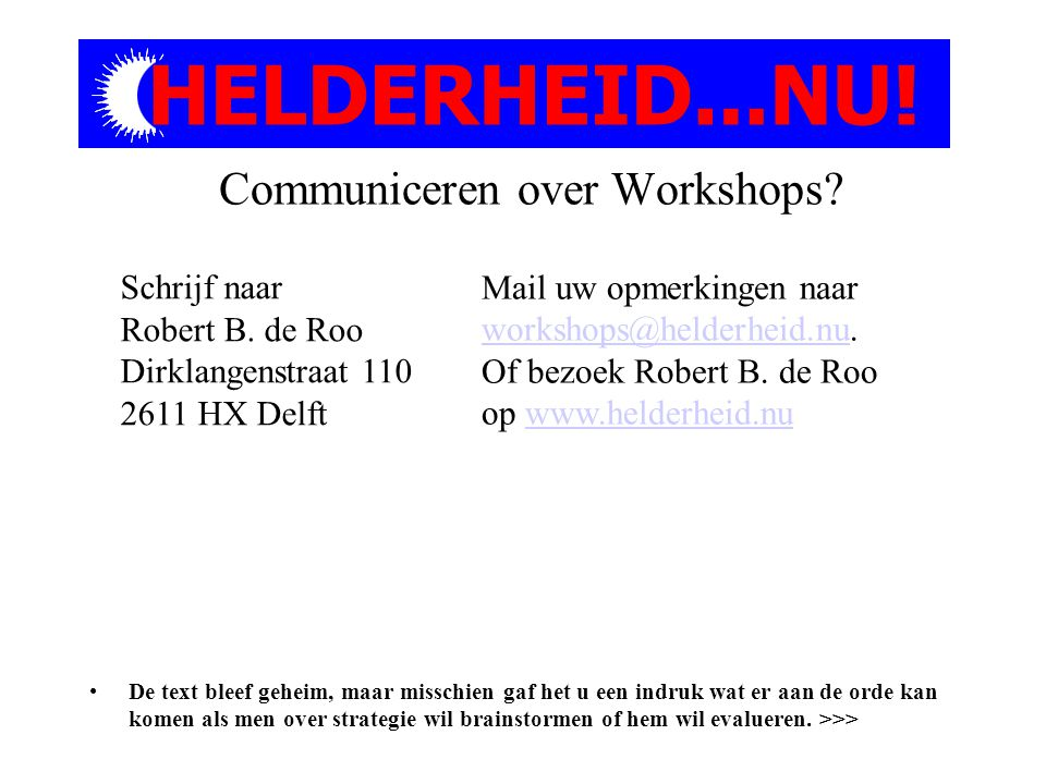 Communiceren over Workshops