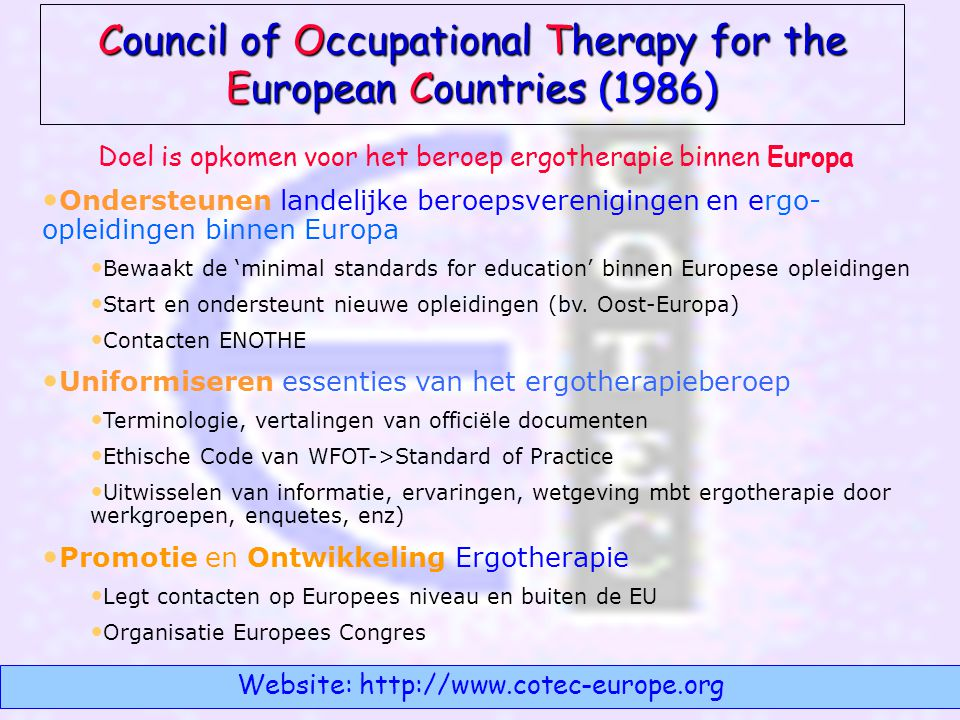 Council of Occupational Therapy for the European Countries (1986)