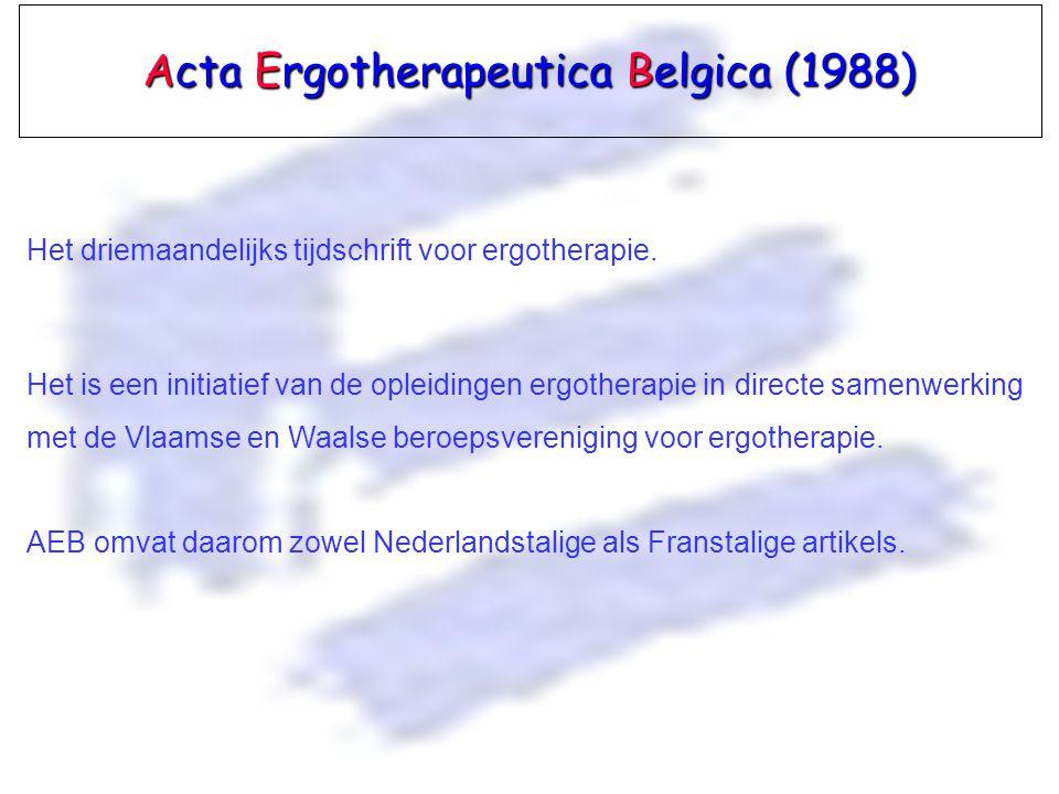 Acta Ergotherapeutica Belgica (1988)