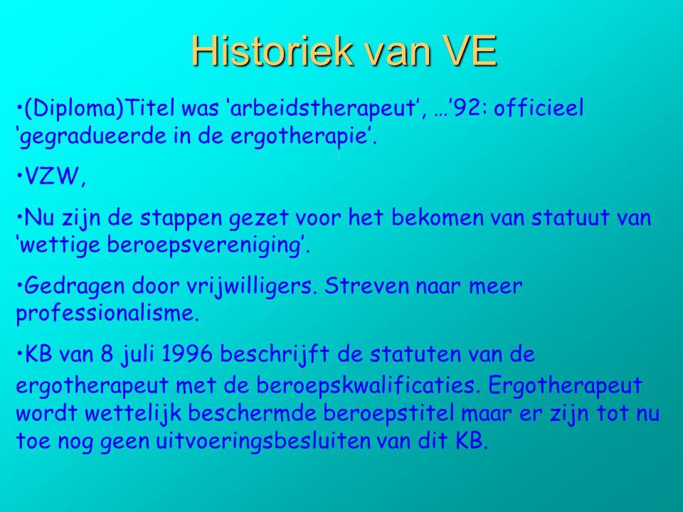 Historiek van VE (Diploma)Titel was 'arbeidstherapeut', …'92: officieel 'gegradueerde in de ergotherapie'.