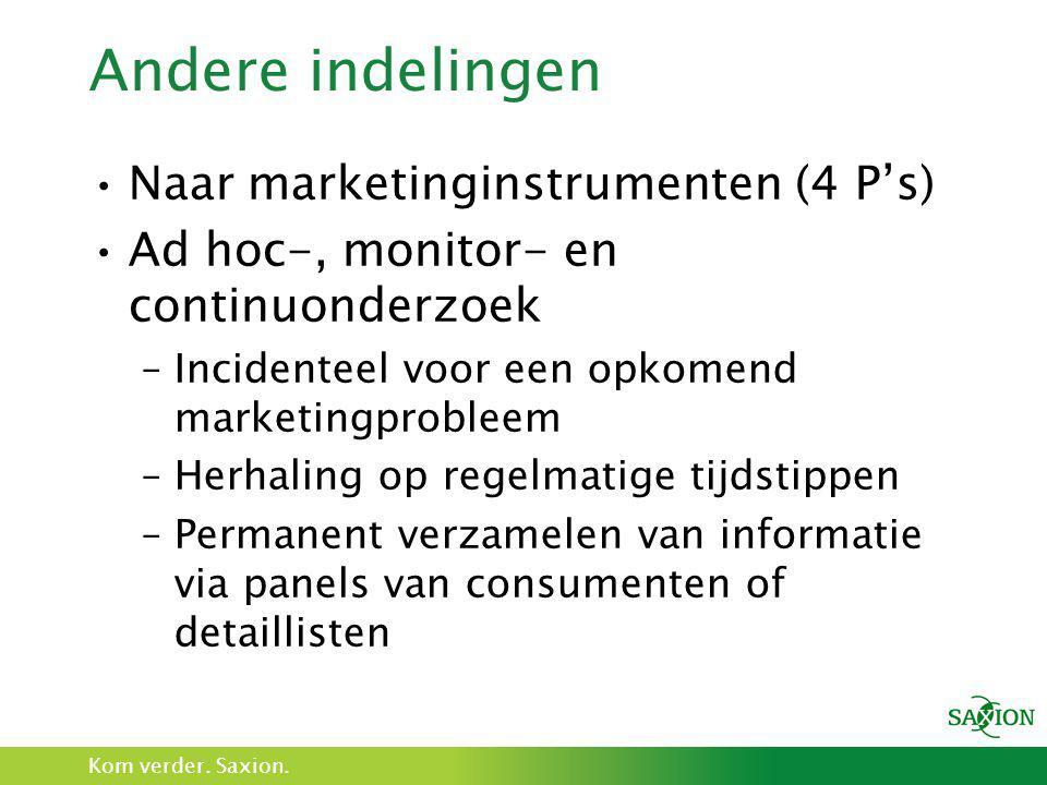 Andere indelingen Naar marketinginstrumenten (4 P's)