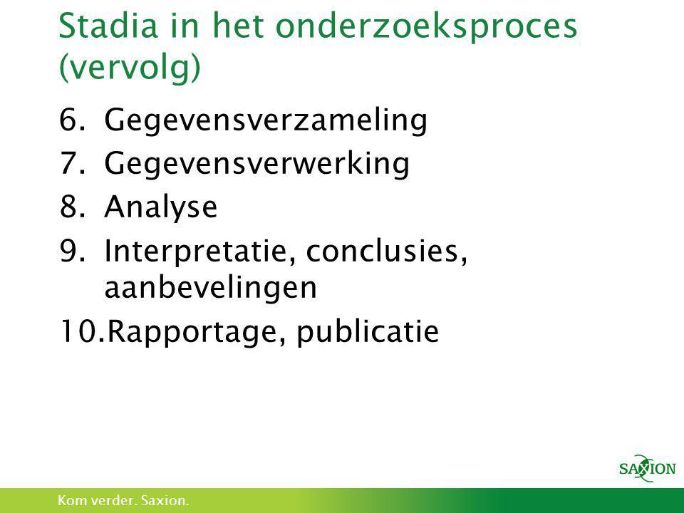 Stadia in het onderzoeksproces (vervolg)