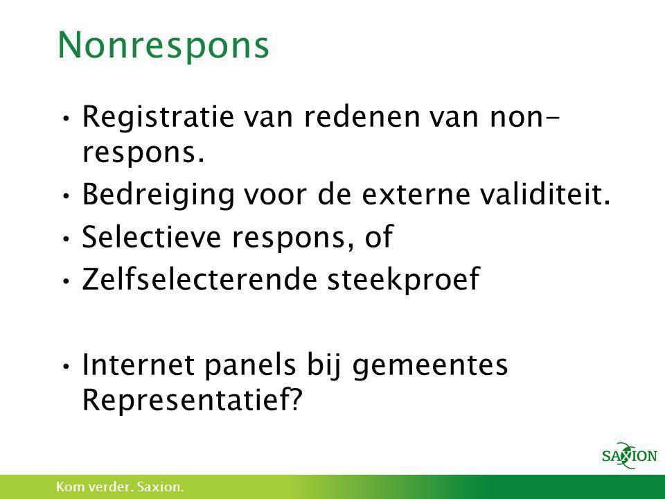 Nonrespons Registratie van redenen van non-respons.