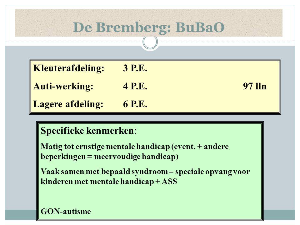 De Bremberg: BuBaO Kleuterafdeling: 3 P.E. Auti-werking: 4 P.E. 97 lln