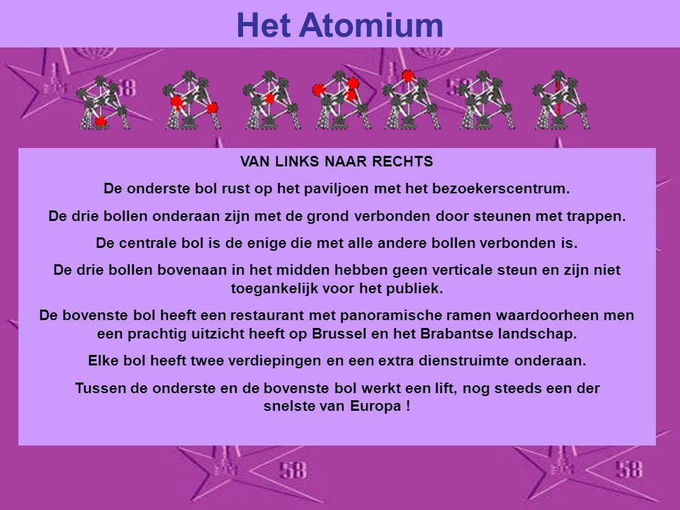 Het Atomium VAN LINKS NAAR RECHTS