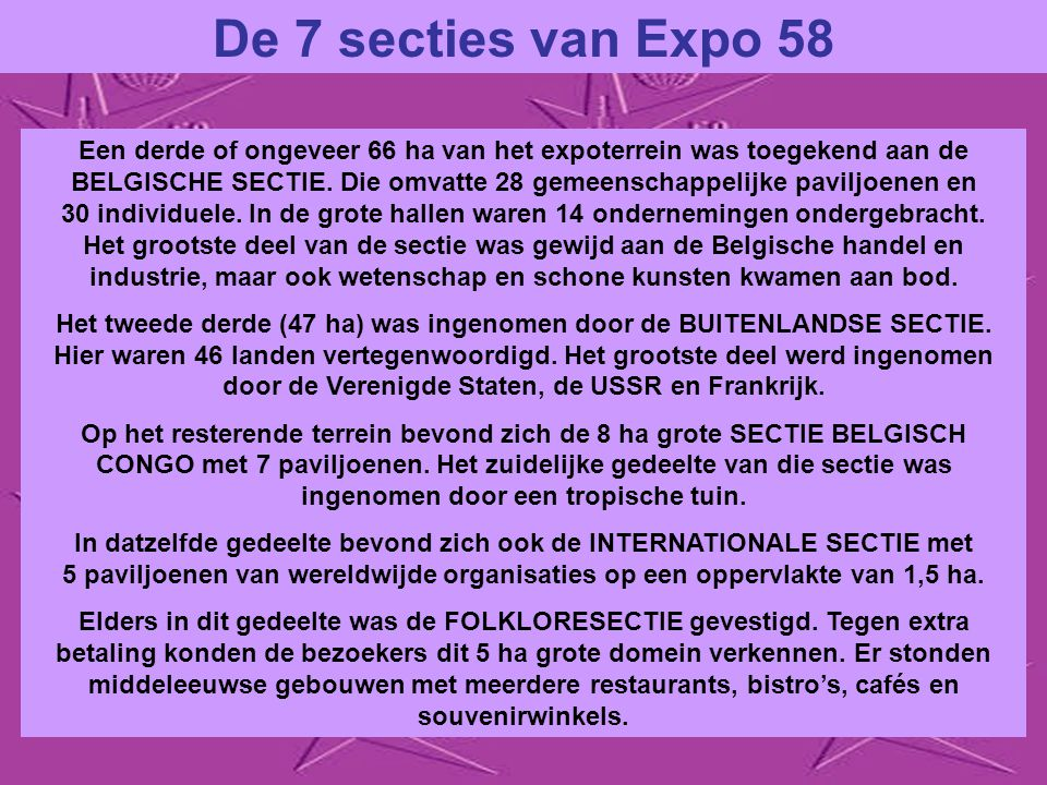 De 7 secties van Expo 58
