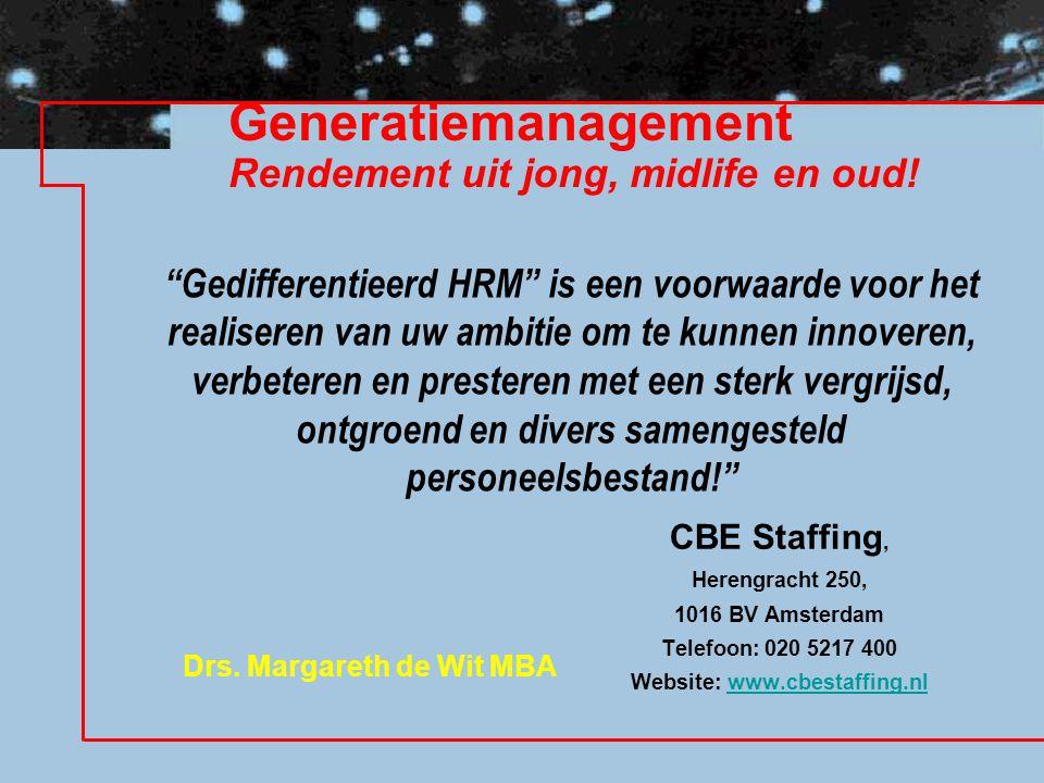 Generatiemanagement Rendement uit jong, midlife en oud!