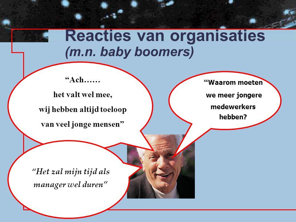 Reacties van organisaties (m.n. baby boomers)