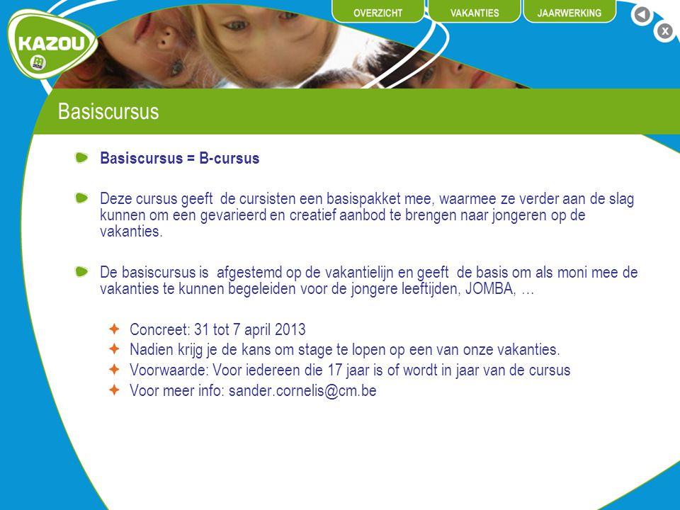 Basiscursus Basiscursus = B-cursus