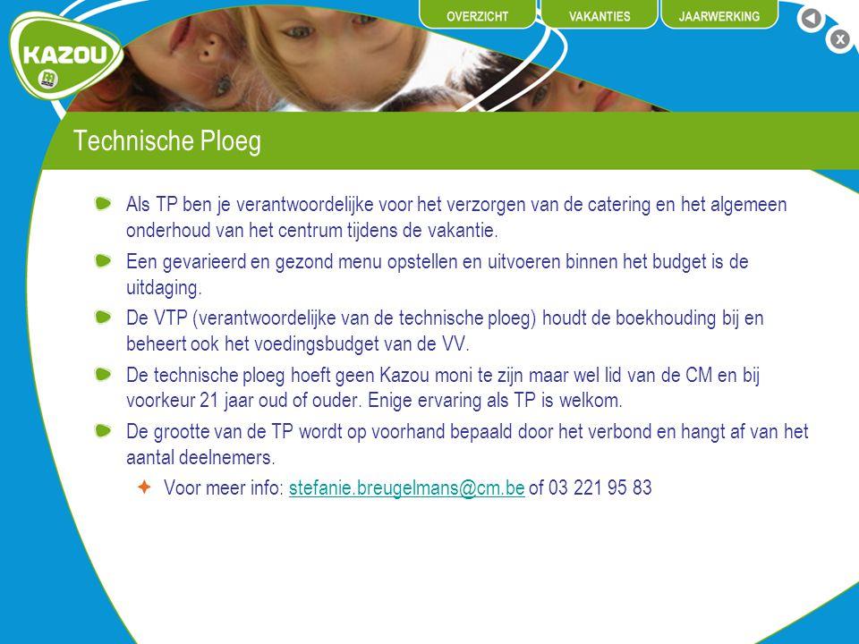 Technische Ploeg Als TP ben je verantwoordelijke voor het verzorgen van de catering en het algemeen onderhoud van het centrum tijdens de vakantie.