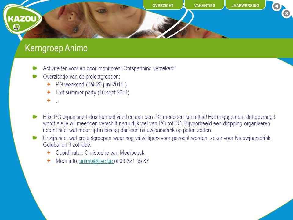 Kerngroep Animo Activiteiten voor en door monitoren! Ontspanning verzekerd! Overzichtje van de projectgroepen:
