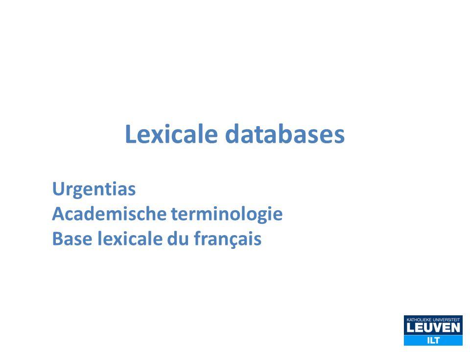 Lexicale databases Urgentias Academische terminologie