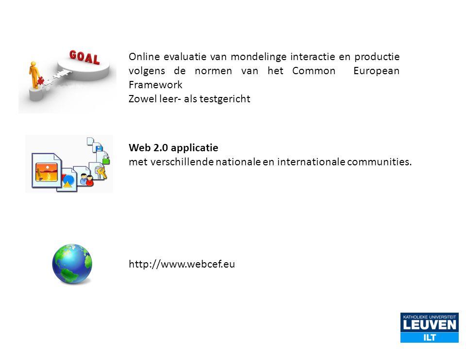 Online evaluatie van mondelinge interactie en productie volgens de normen van het Common European Framework