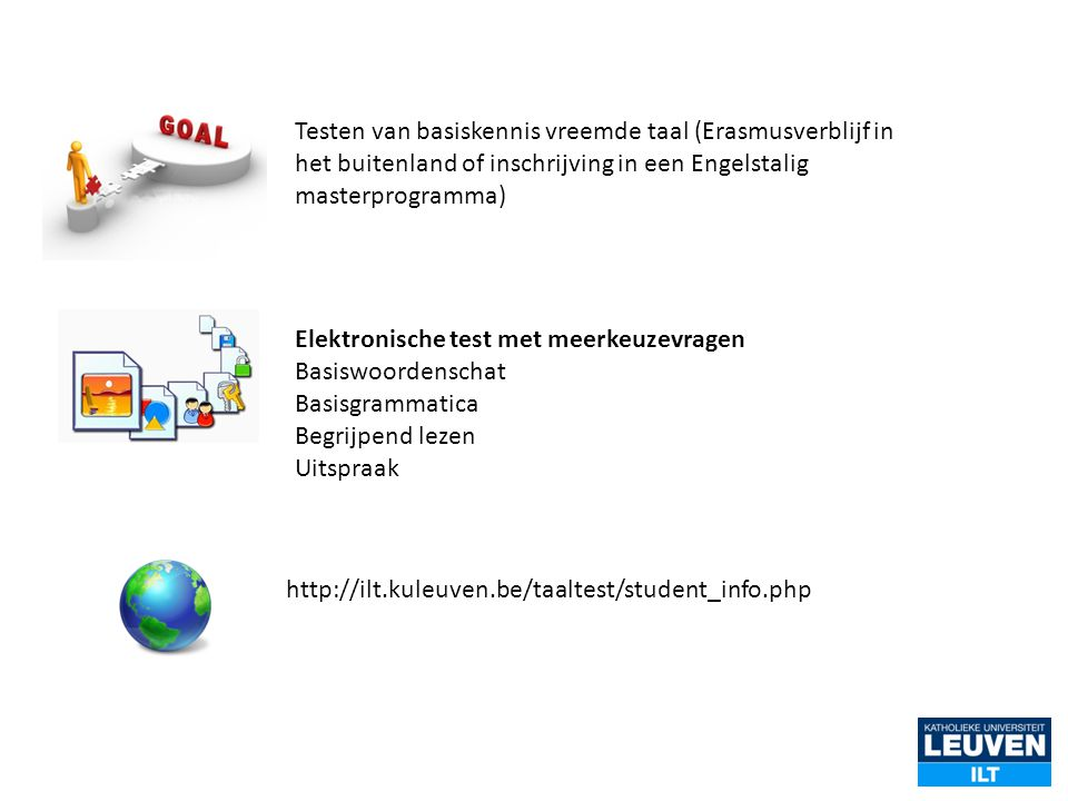 Testen van basiskennis vreemde taal (Erasmusverblijf in het buitenland of inschrijving in een Engelstalig masterprogramma)