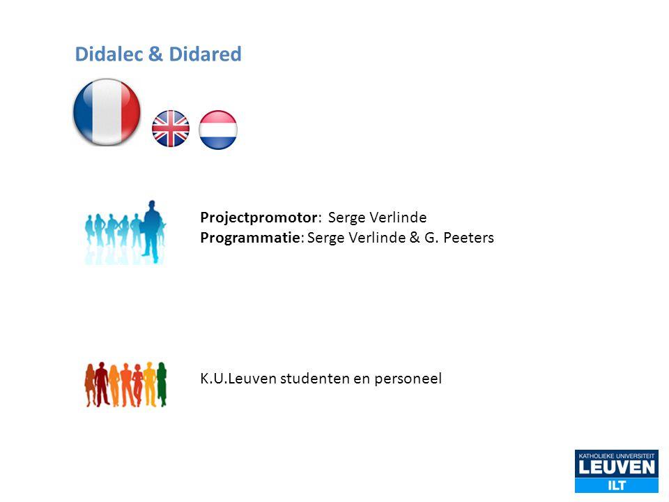 Didalec & Didared Projectpromotor: Serge Verlinde Programmatie: Serge Verlinde & G.