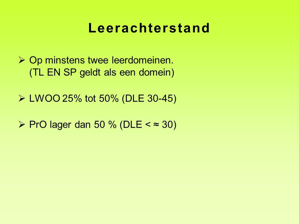 Leerachterstand Op minstens twee leerdomeinen. (TL EN SP geldt als een domein) LWOO 25% tot 50% (DLE 30-45)