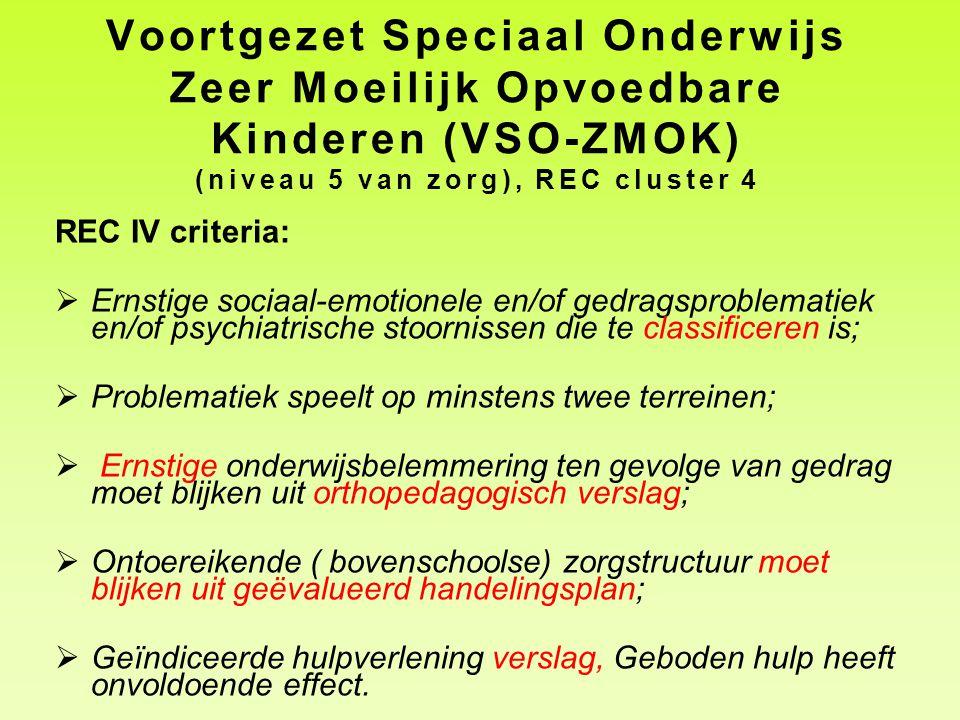 Voortgezet Speciaal Onderwijs Zeer Moeilijk Opvoedbare Kinderen (VSO-ZMOK) (niveau 5 van zorg), REC cluster 4