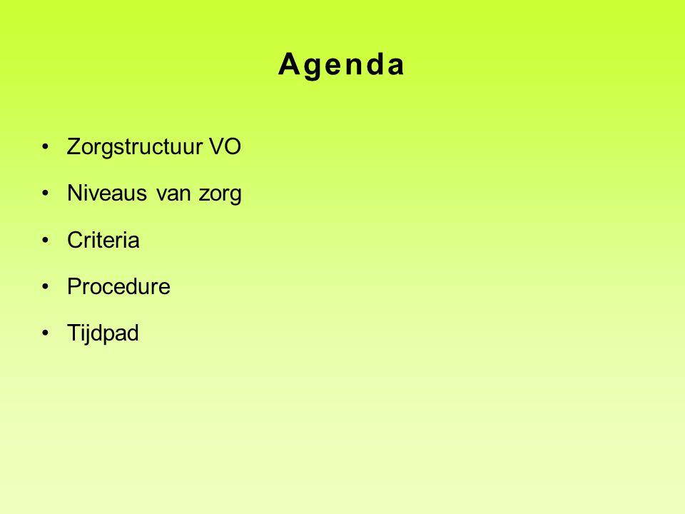 Agenda Zorgstructuur VO Niveaus van zorg Criteria Procedure Tijdpad