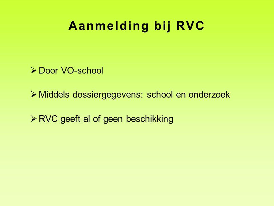 Aanmelding bij RVC Door VO-school