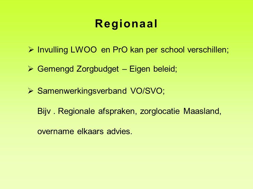 Regionaal Invulling LWOO en PrO kan per school verschillen;