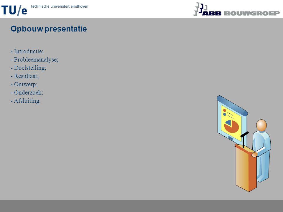 Opbouw presentatie - Introductie; - Probleemanalyse; - Doelstelling;