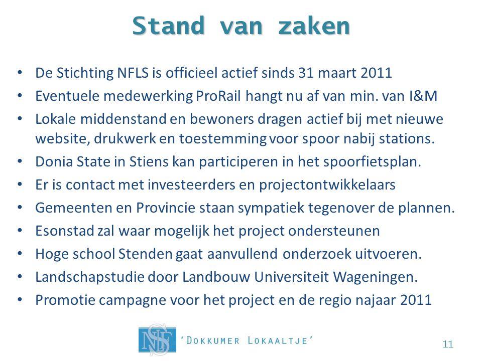Stand van zaken De Stichting NFLS is officieel actief sinds 31 maart 2011. Eventuele medewerking ProRail hangt nu af van min. van I&M.