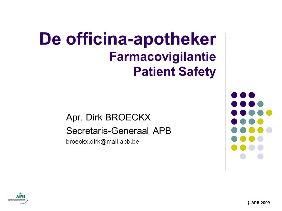 De officina-apotheker Farmacovigilantie Patient Safety