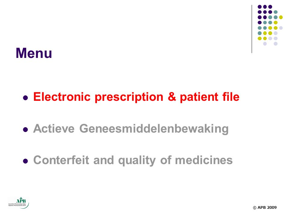 Menu Electronic prescription & patient file