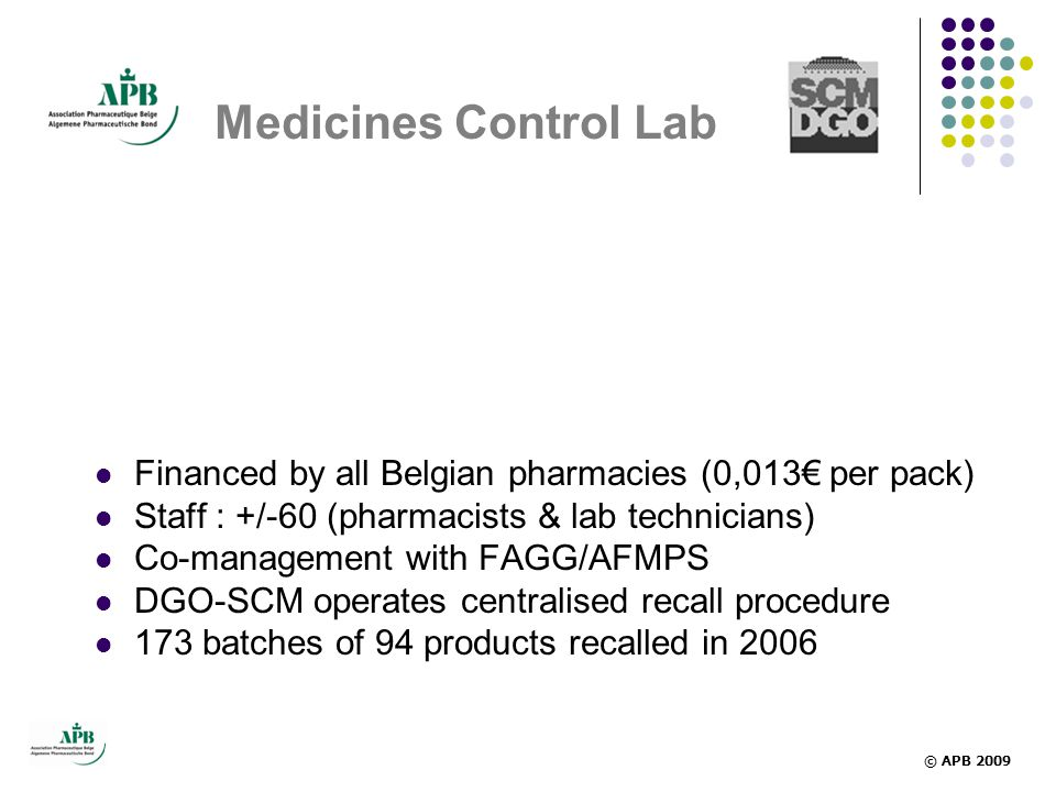 Medicines Control Lab Financed by all Belgian pharmacies (0,013€ per pack) Staff : +/-60 (pharmacists & lab technicians)