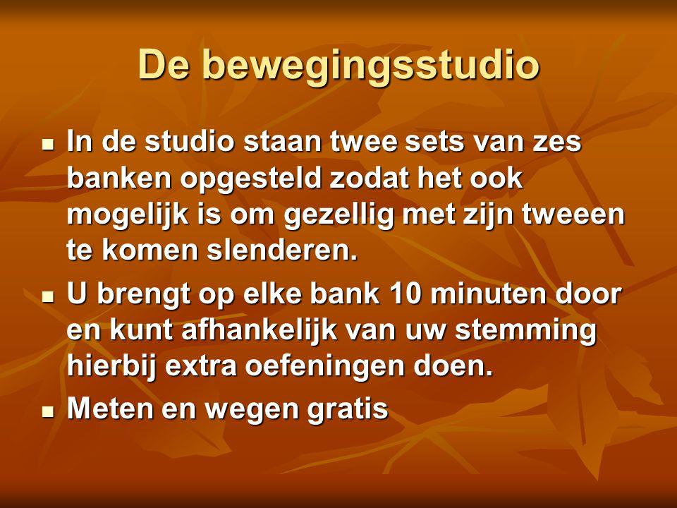 De bewegingsstudio In de studio staan twee sets van zes banken opgesteld zodat het ook mogelijk is om gezellig met zijn tweeen te komen slenderen.