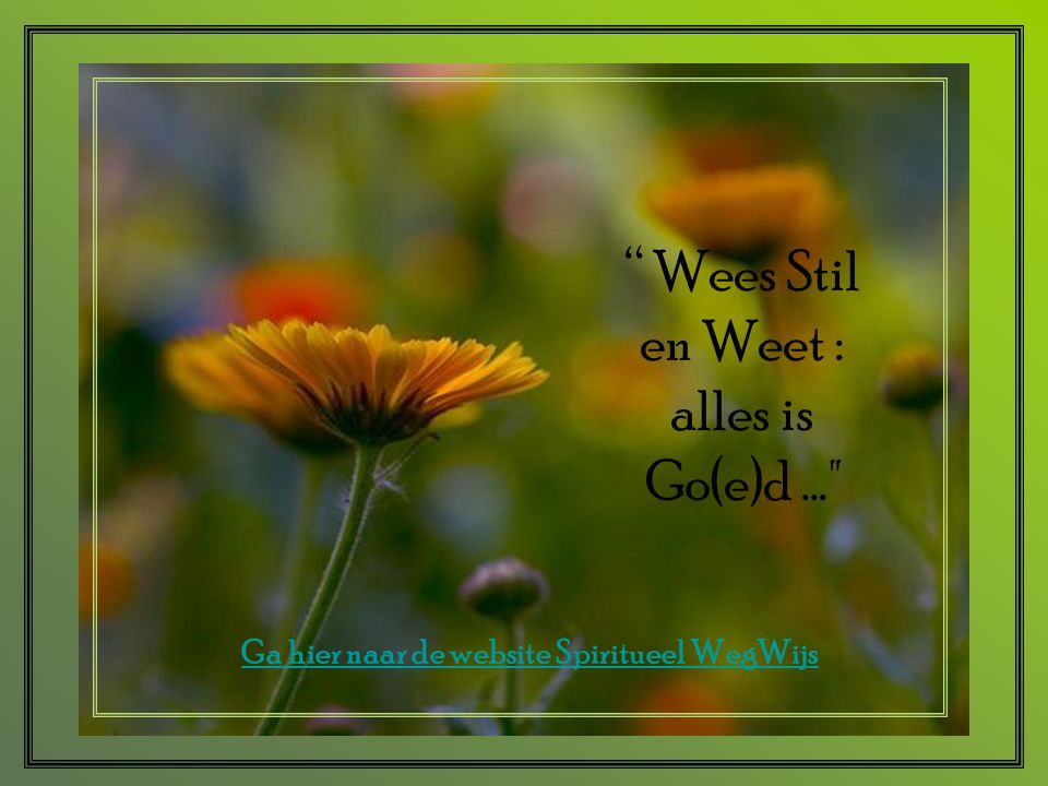 Wees Stil en Weet : alles is Go(e)d ...