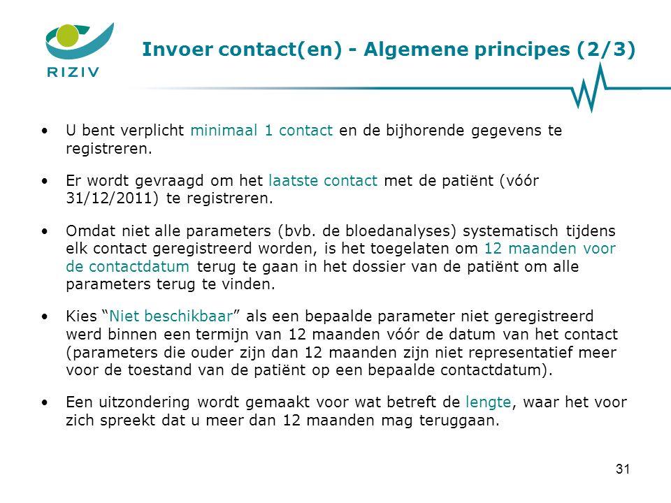 Invoer contact(en) - Algemene principes (2/3)