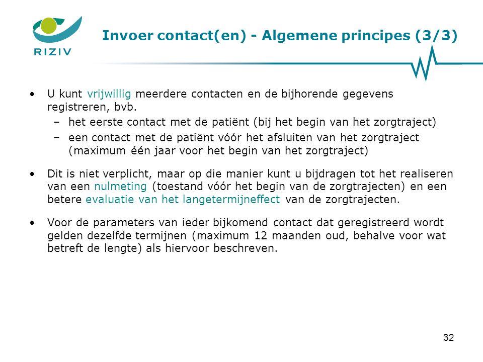 Invoer contact(en) - Algemene principes (3/3)