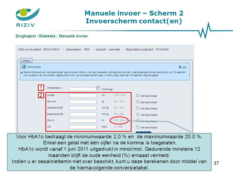 Manuele invoer – Scherm 2 Invoerscherm contact(en)