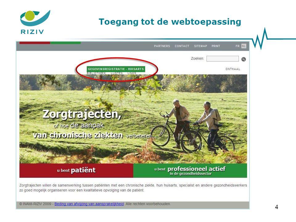 Toegang tot de webtoepassing