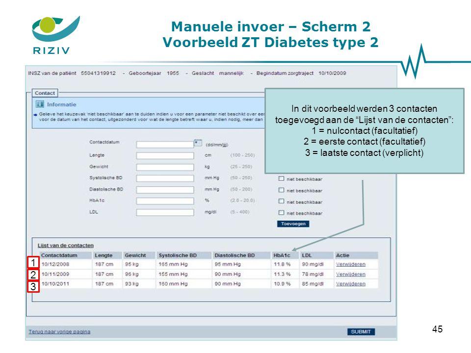 Manuele invoer – Scherm 2 Voorbeeld ZT Diabetes type 2