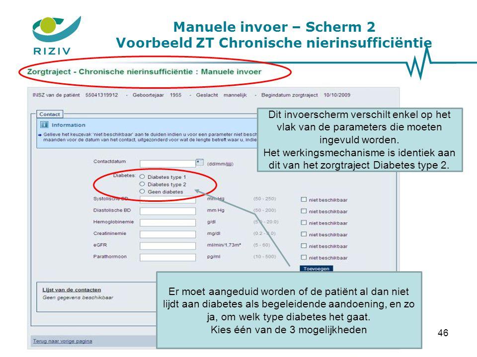 Manuele invoer – Scherm 2 Voorbeeld ZT Chronische nierinsufficiëntie