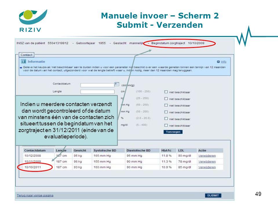 Manuele invoer – Scherm 2 Submit - Verzenden