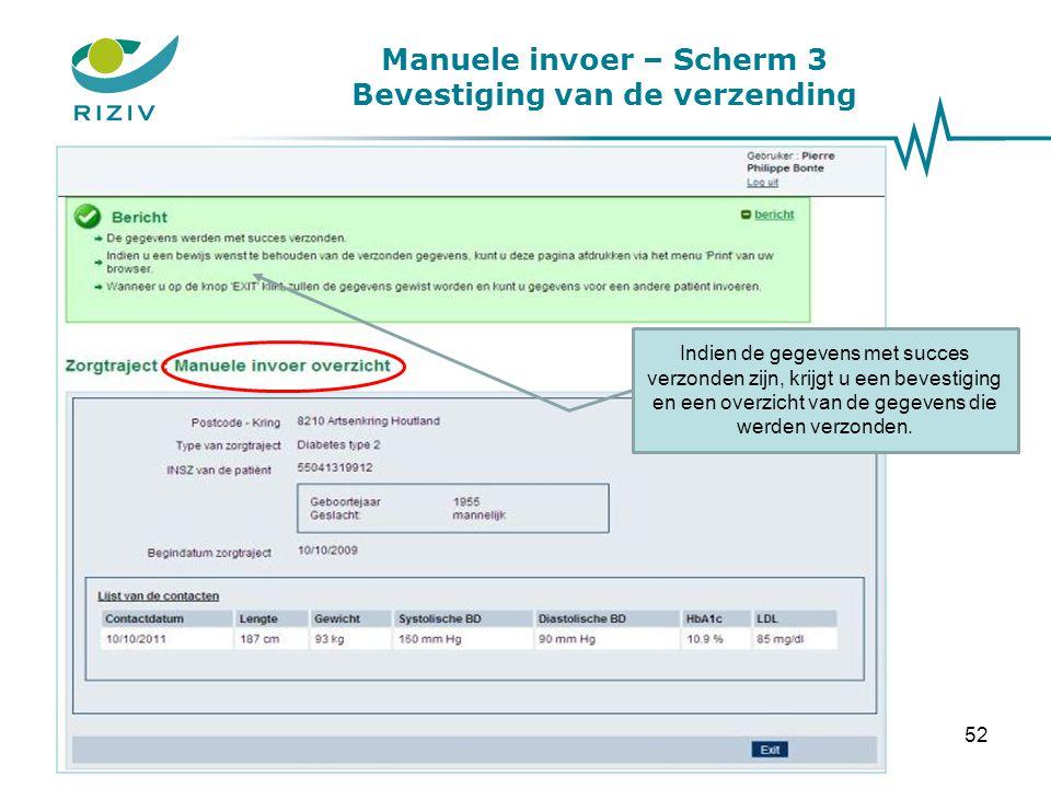 Manuele invoer – Scherm 3 Bevestiging van de verzending