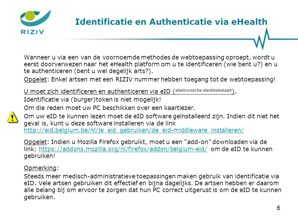 Identificatie en Authenticatie via eHealth
