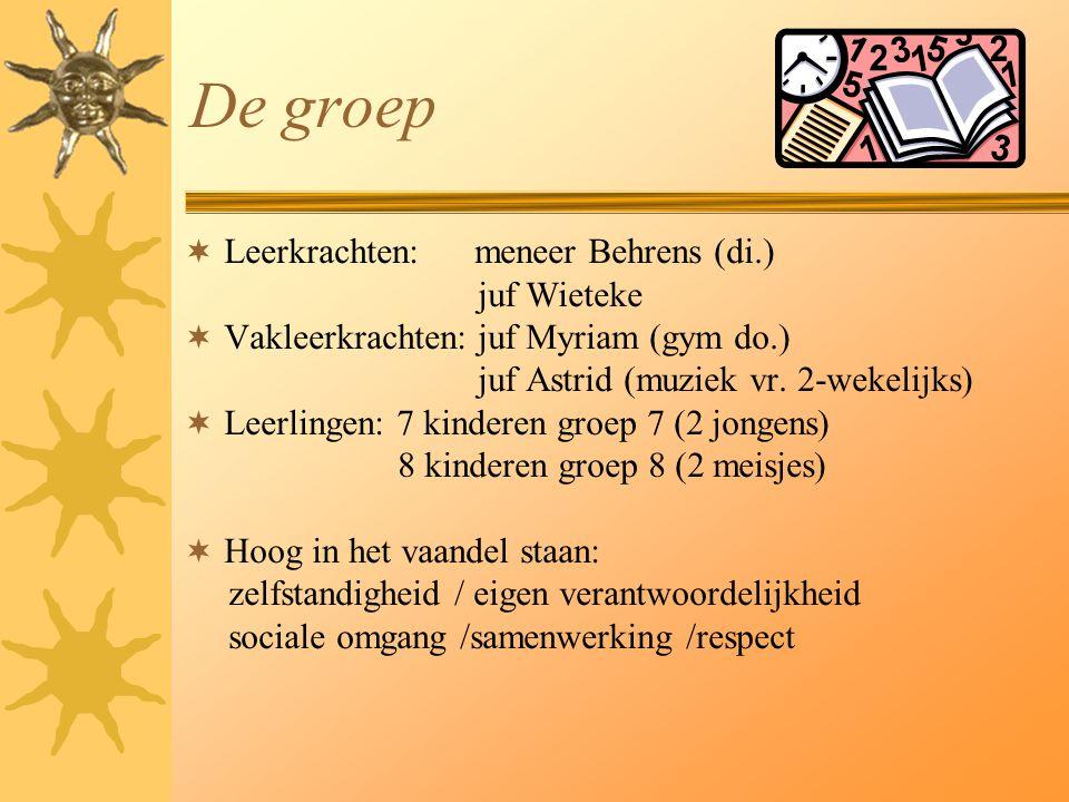 De groep Leerkrachten: meneer Behrens (di.) juf Wieteke
