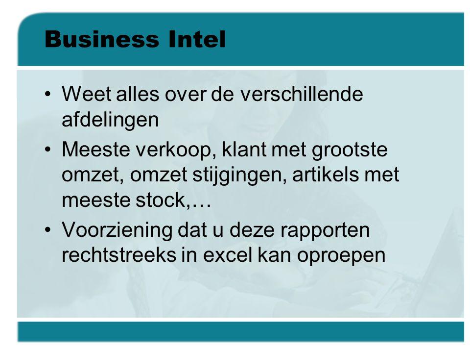 Business Intel Weet alles over de verschillende afdelingen