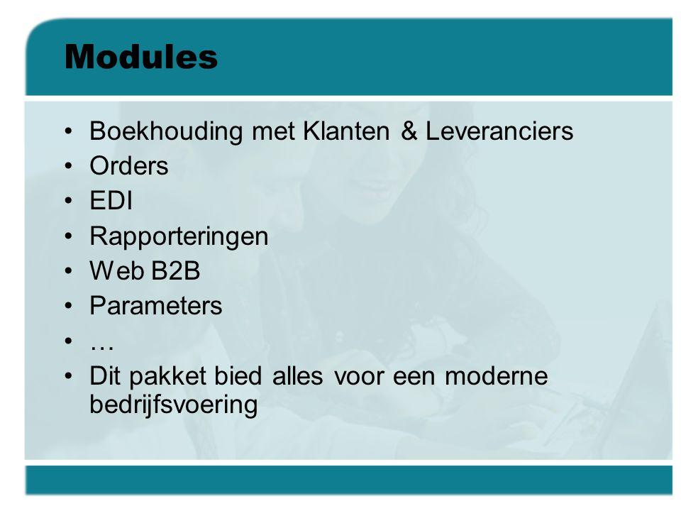 Modules Boekhouding met Klanten & Leveranciers Orders EDI